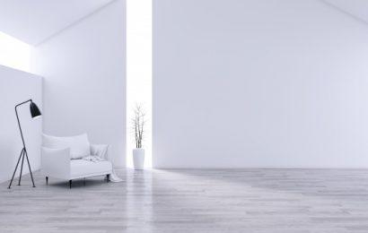 Hvis lænestol i en minimalistisk stue